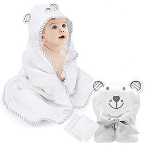 Eccomum Serviette pour bébé avec capuche en bambou bio pour tout-petits, ultra doux, super absorbant épais, grand 90×90 cm, 2 petits mouchoirs – les nouveau-nés ou les nourrissons