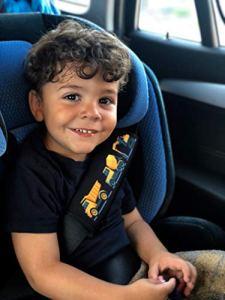 HECKBO® 1 x protège-ceinture, voiture, motif voiture de chantier – pour enfants garçon, garçons, ceinture de sécurité, coussin épaule, siège enfants voiture, siège enfants