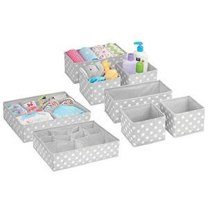 mDesign boîte de Rangement pour Chambre d'enfant (Set de 8) – bacs de Rangement élégants de différentes Tailles – Organiseur de tiroir en Fibre synthétique Respirante – Gris/Blanc