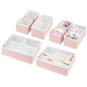mDesign boîte de Rangement pour Chambre d'enfant (Set de 8) – bacs de Rangement élégants de différentes Tailles – Organiseur de tiroir en Fibre synthétique Respirante – Rose Clair/Blanc