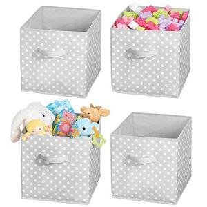 mDesign Box de Rangement vêtements ou Jouets pour Chambre d'enfant (Lot de 4) – bac de Rangement carré avec poignée Tissu – Boite de Rangement Tissu Motif à Pois rafraichissant – Gris et Blanc
