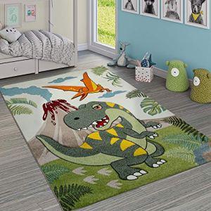 Paco Home Tapis Chambre Enfant Adorable Dinosaures Jungle Volcan Effet 3-D Poils Ras Vert, Dimension:120×170 cm