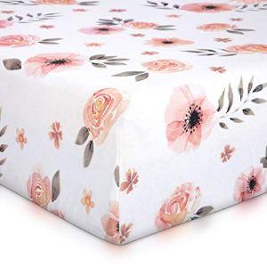 Tyke Bliss Drap de berceau pour bébé Motif floral Rose 132 x 71 m 100 % coton doux aquarelle rose