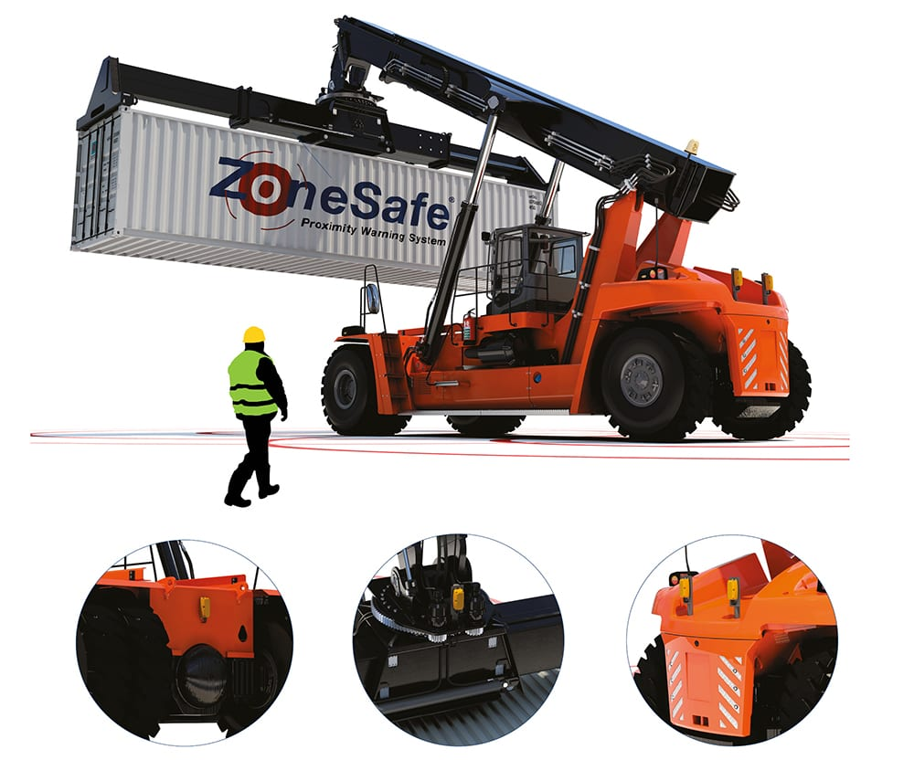 ZoneSafe Person To Vehicle Alert Fitted onto Reach Stacker