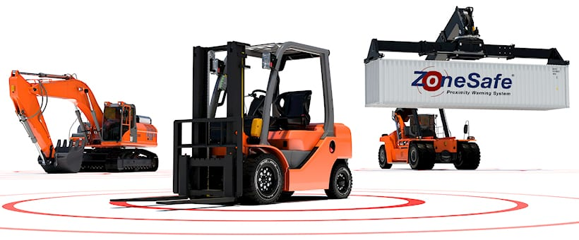 Forklift Reachstacker and Excavator Render