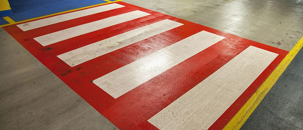 Colourful warehouse crossing for ZoneSafe crossing alert pedestrian proximity warning alert system