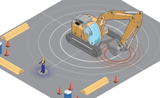 vehicle to person alert illustration digger