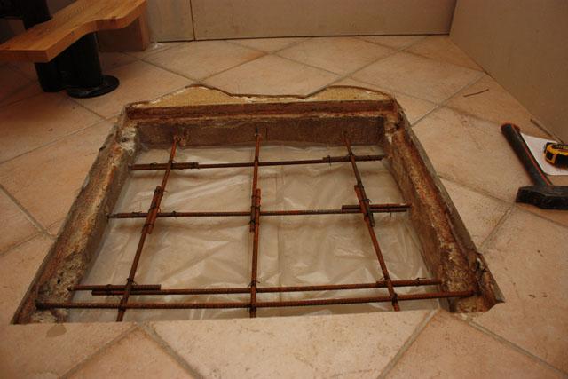 Brico reboucher une ancienne trappe dans une dalle b ton - Reboucher trou mur beton ...