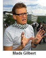 Dr.Mads Gilbert with de rigueur keffieh