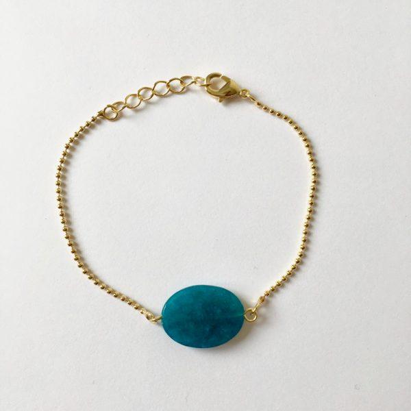 Armband met agaat edelsteen sieraad goudkleurig