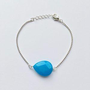 Armband met blauw jade druppel (zilver)