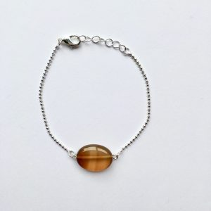 Armband met glimmende natuursteen (zilver)