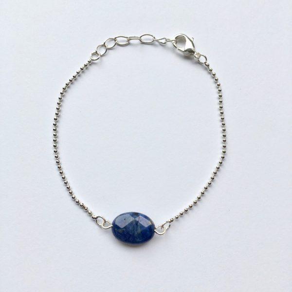 Armband met lapis lazuli ovaal zilver