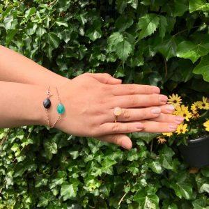 Armband met onyx ovaal (rose goud)