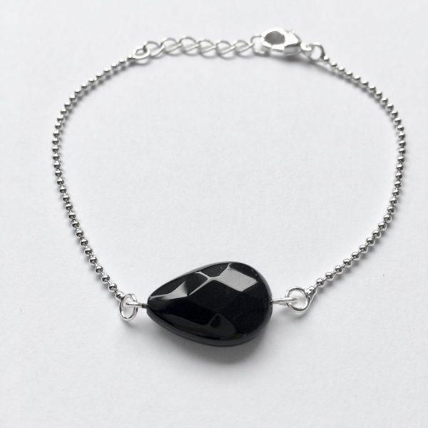 Armband met onyx zilverkleurig edelsteen fijn