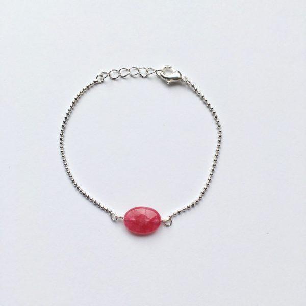 Armband met roze jade ovaal zilver