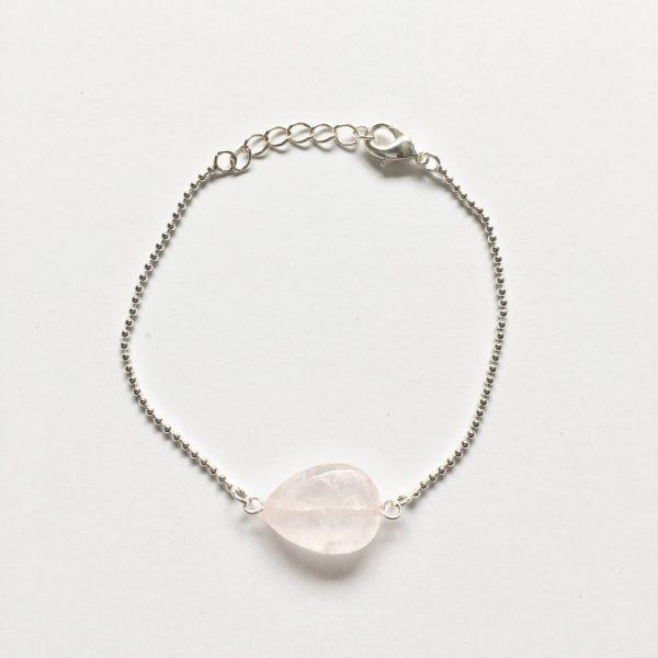 Armband met rozenkwarts druppel zilver
