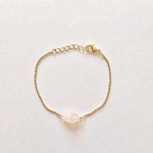 Armband met rozenkwarts ovaal goud