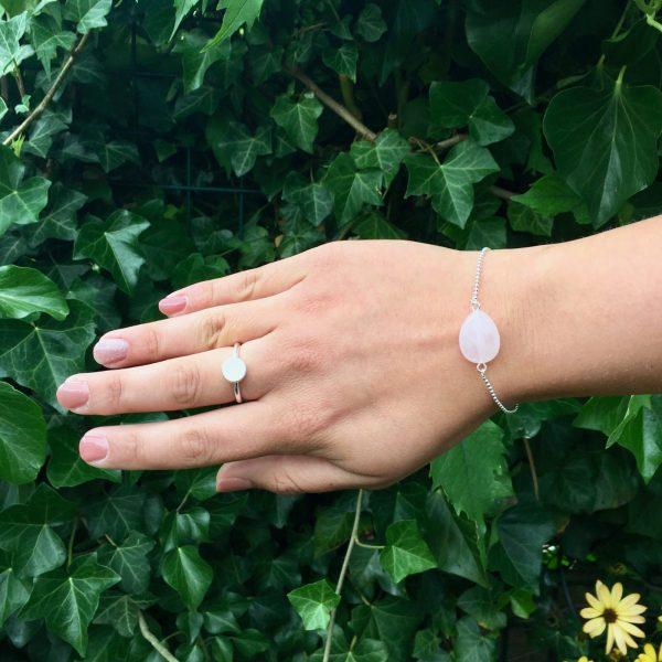 Armband met rozenkwarts (zilver)