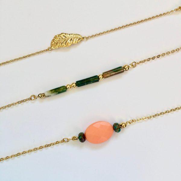 Armbanden met natuurstenen fijn goud
