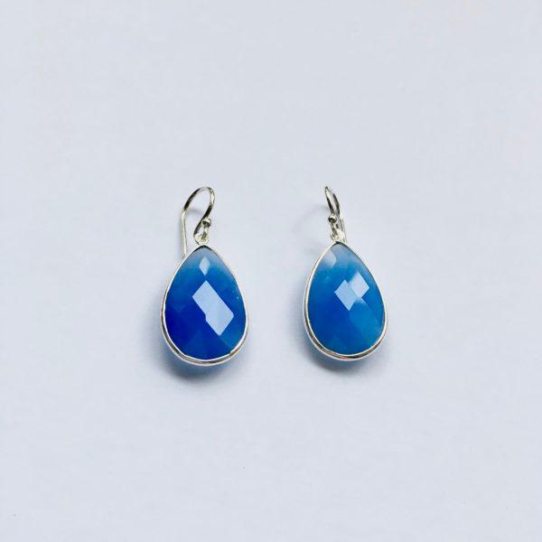 Edelsteen oorbellen Blue Chalcedony Chalcedoon 925 zilver