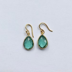 Edelsteen oorbellen hydro green amethyst prasioliet goud
