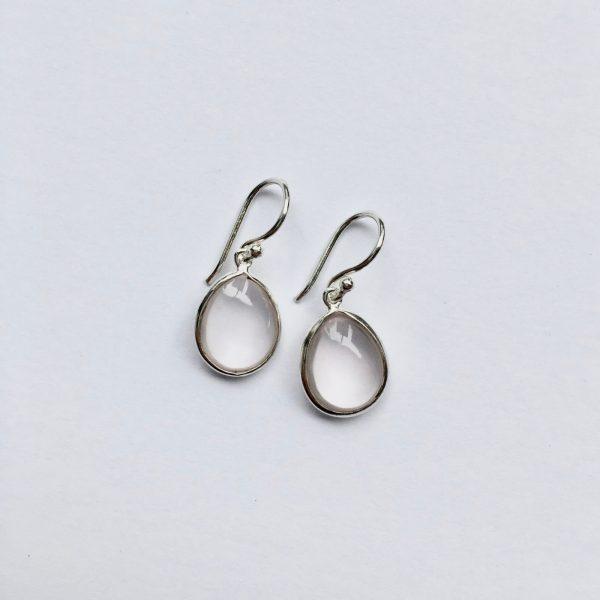 Edelsteen oorbellen rozenkwarts ovaal 925 zilver