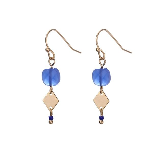 Fijne oorhangers goud cobalt blauw