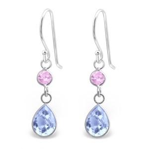 Fijne zilveren oorbellen zikonia roze blauw