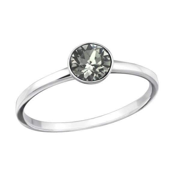 Fijne zilveren ring met Swarovski kristal grijs maat 7 (M,17)