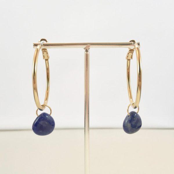 Gouden oorringen met lapis lazuli