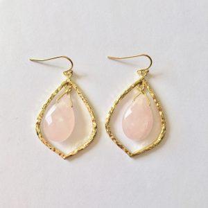 Grote oorbellen rozenkwarts druppel goud
