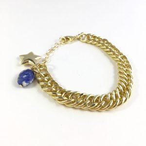 Jasseron schakelarmband goud met lapis lazuli