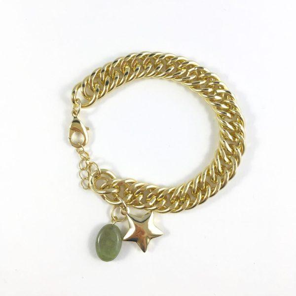 Jasseron schakelarmband jade en ster goudkleurig
