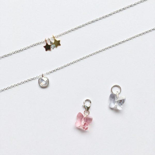 Ketting hanger met Swarovski kristal roze lichtpaars zilveren kettingen kids