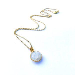 Ketting met hanger maansteen goud