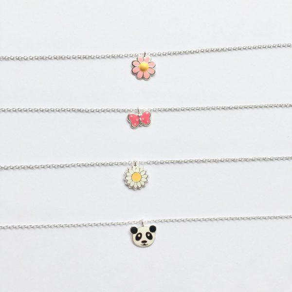 Kindersieraden bloemen vlinder panda zilver 925