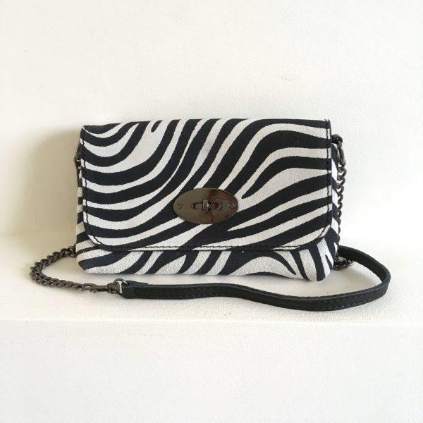 Klein uitgaanstasje zebra print