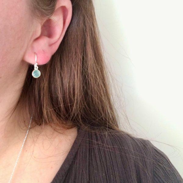 Kleine edelsteen oorbellen 925 zilver mini oorhangers