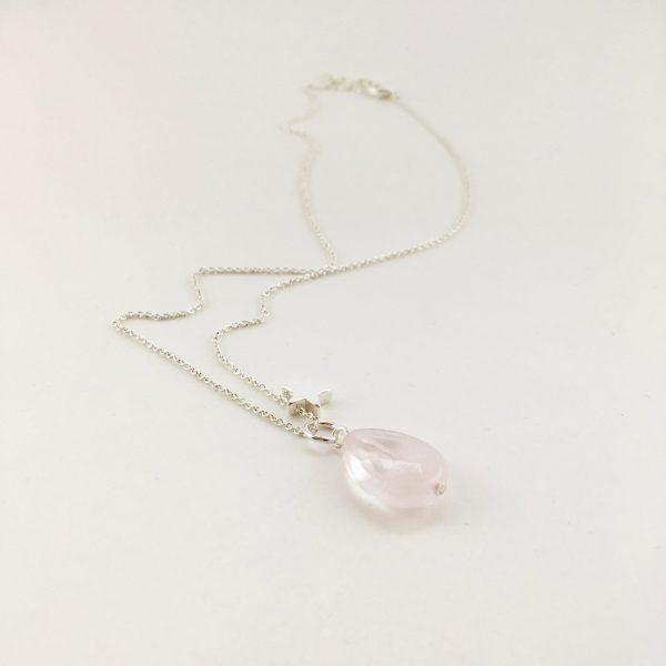 Korte ketting zilver ster rozenkwarts