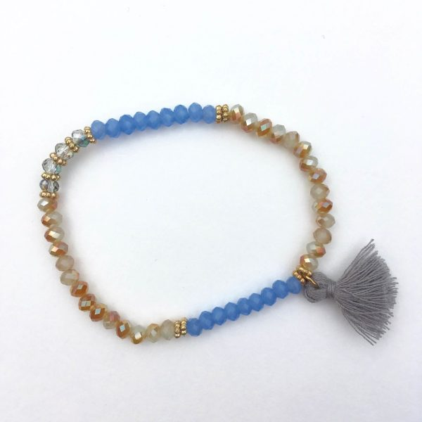 Kralen armband kwastje blauw