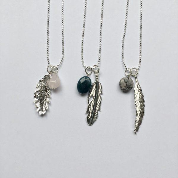 Lange edelsteen ketting 2 bedels natuursteen lange kettingen met natuurstenen zilver