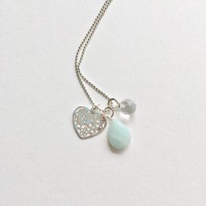 Lange ketting met amazoniet druppel hart zirkonia bedel zilver