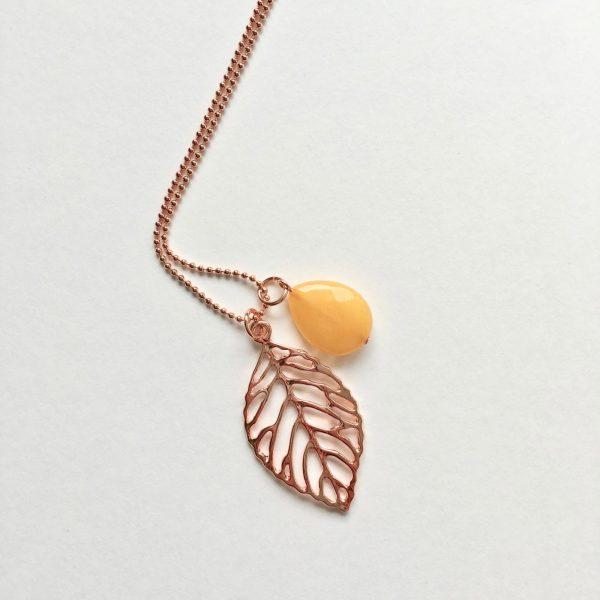 Lange ketting met edelsteen gele jade blad rose goud
