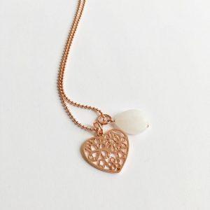 Lange ketting met edelsteen hart rose goud