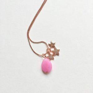 Lange ketting met edelsteen roze jade sterren rose goud