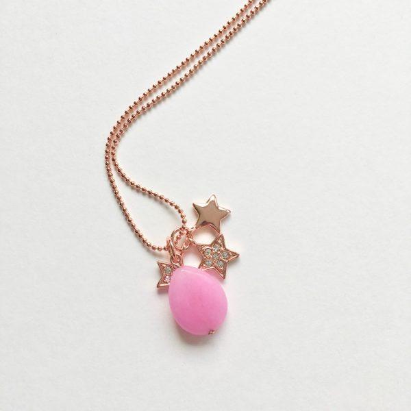 Lange ketting met edelsteen roze jade sterren rose goudkleurig