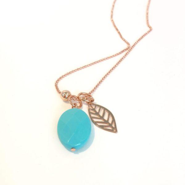 Lange ketting met edelsteen turkoois leaf bol rose goudkleurig