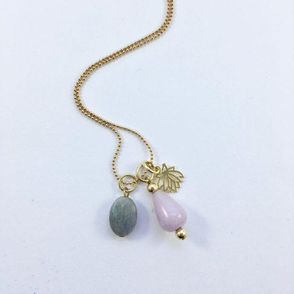 Lange ketting met jade labradoriet lotus goud