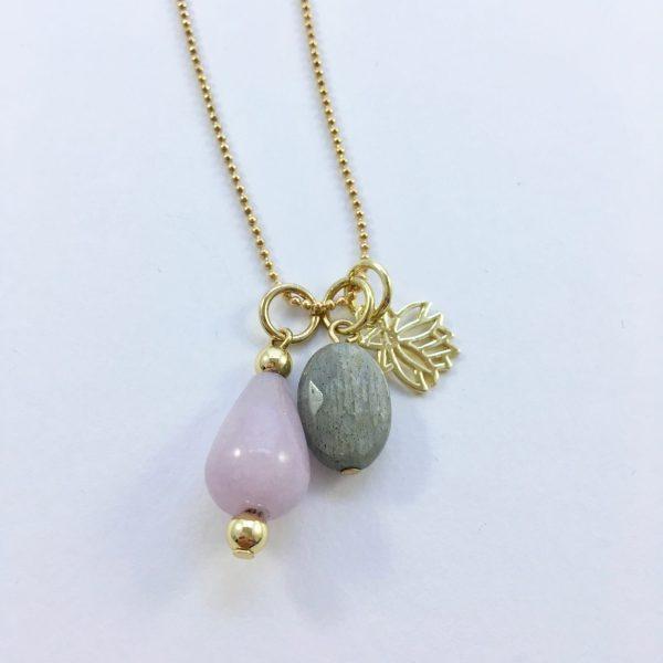 Lange ketting met jade labradoriet lotus goudkleurig